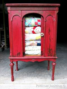 Cabinet painted with MMS Milk Paint in Tricycle Ted by Petticoat Junktion #milkpaint #red