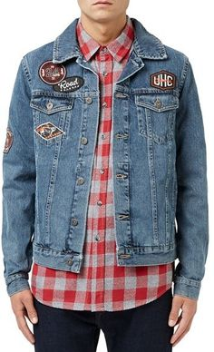 denim jacket with patches Jean jacket with overlapped patches Denim Jacket Patches, Denim Shirt Men, Denim Jacket Men, Denim Coat, Patched Denim, Love Jeans, Stylish Jackets, Denim Trends, Denim Outfit