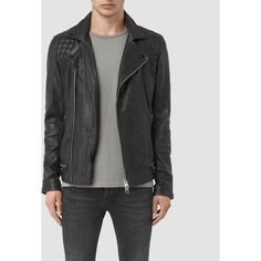 AllSaints Conroy Leather Biker Jacket ($650) ❤ liked on Polyvore featuring men's fashion, men's clothing, men's outerwear, men's jackets, ink navy, mens leather biker jacket, old navy mens jackets, mens leather motorcycle jacket, mens leather moto jacket and mens leather jackets