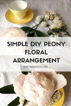 Simple, rustic, DIY floral arrangement using peonies from your backyard.  All you need is peonies, a pretty teacup, and a few greens or small flowers for contrast.