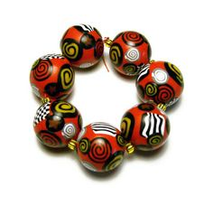 Handmade Beads Polymer Clay Set of Seven by SweetchildJewelry, $13.00