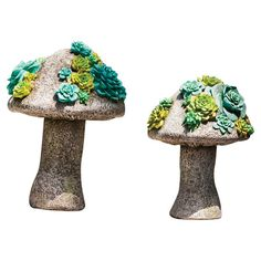 Add a whimsical touch to your outdoor decor with these mushroom-inspired statues, showcasing vibrant succulent-inspired accents.  Product...