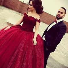 Dramatic Burgundy Long Prom Dress - Ball Gown Off-the-Shoulder Sleeveless Lace