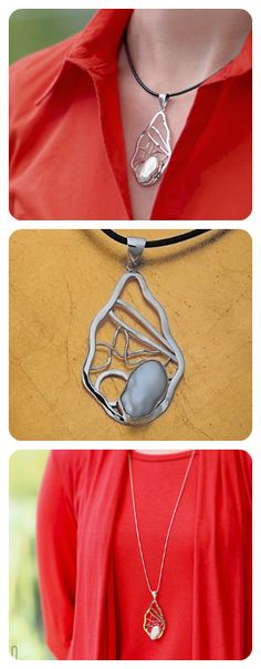 Necklace    Sterling Silver    Irregular Shape Natural Pearl    Geometry Collection   