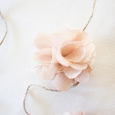 cute idea - make a flower garland with burlap flowers