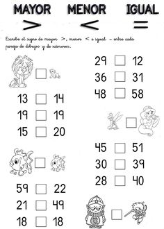 numero mayor y menor cuaderno de matem 225 ticas y numero mayor y menor cuaderno de matem 225 ticas y Addition With Regrouping Worksheets, Math Worksheets, Preschool Activities, Bilingual Education, Kids Education, Math For Kids, Teaching Spanish, Homeschool, Classroom