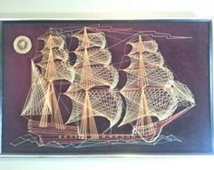 Large Vintage Ship String Art, 3d Wall Hanging, Nautical, Man Cave, Bachelor Pad, Den, Home Decor, Battleship, Gifts for Men Him, Picture