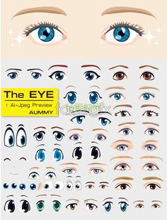 Variety of cartoon eyes template vector