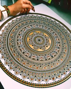 """""""This killed my back, obvz.... but I loved every min of creating it. a'A it's finished. #mandala coin. #murderandrose"""""""