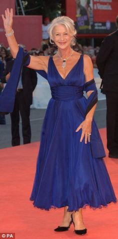 Dame Helen Mirren (Hi5 to designers Amanda Wakeley and Vivienne Westwood)
