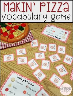 This fun pizza themed menu card game is a great way to build vocabulary with your preschool and early elementary students. This game can stand alone to work on turn taking and basic game play or be paired with skill work as a reinforcement during speech therapy sessions. This game can be paired with play food in centers. This game is ideal for speech therapy, preschool, day care, special education and home school. Click here to see more of this fun pizza themed activity!