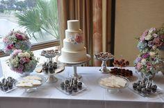Scrumptious dessert buffet of crystal heart cookies, fruit tarts, & OREO cake shots enhances a gorgeous wedding cake with sugar flowers!