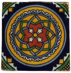 """10 Mexican Hand Painted Talavera Tiles 4"""" X 4"""""""
