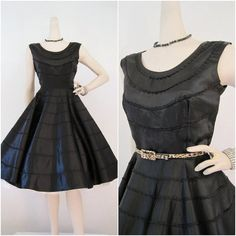 50s Dress Vintage Black Satin Circle Skirt by voguevintage on Etsy, $175.00. I would wear this.