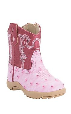 Roper Infant Pink Ostrich Print with Pink Top Round Toe Western Boots | Cavender's