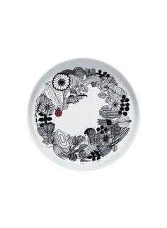 Oiva/Siirtolapuutarha -tarjoiluvati (valkoinen, musta, pinkki) |Sisustustuotteet, Keittiö, Posliinit, Tarjoiluastiat | Marimekko