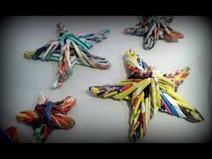 Christmas stars made with newspaper Paper Book, Paper Art, Christmas Origami, Rolled Paper, Made Video, Xmas Ornaments, Art For Kids, Merry, Belem