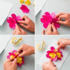 fleur de papier carte d' anniversaire
