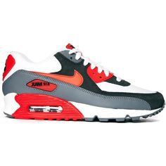 Nike Air Max 90 Essential Grey/Red Trainers ($93) ❤ liked on Polyvore featuring shoes, sneakers, men, lightweight sneakers, red sneakers, leather shoes, lace up sneakers and nike trainers