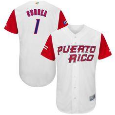 eac54be69 Men s Puerto Rico Baseball Carlos Correa Majestic White 2017 World Baseball  Classic Authentic Jersey