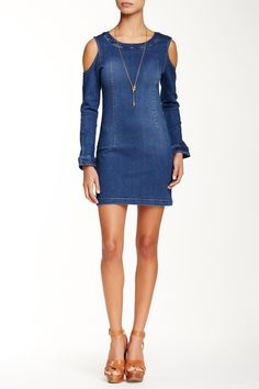 Cold-Shoulder Denim Dress by Mono B on @HauteLook