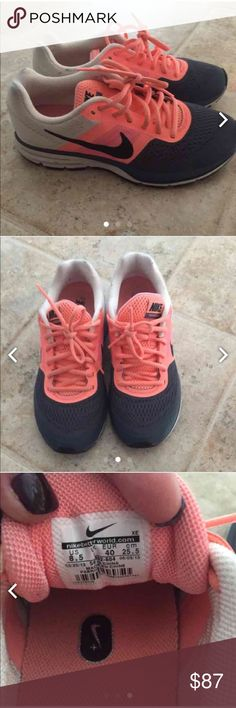Women's Nike Pegasus Running Shoes 8.5 Excellent condition. Worn less than five times. Dark gray, white, and a peach/coral color combination. (CHEAPER ON ♏️ercari). Nike Shoes