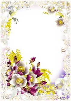 Spring frame for photoshop with flowers ( free photo frame psd, free download )