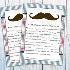 INSTANT DOWNLOAD Printable Boy Baby Shower Games Mustache Baby Shower Mad libs Printable Party Decorations preppy baby shower, mustache bash on Etsy, $5.00