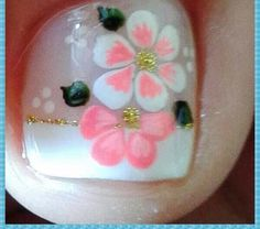 Oh, such a pretty spring/Summer design Pedicure Designs, Toe Nail Designs, Nail Polish Designs, Toe Nail Art, Toe Nails, Flower Nails, Manicure And Pedicure, French Pedicure, Nails Inspiration