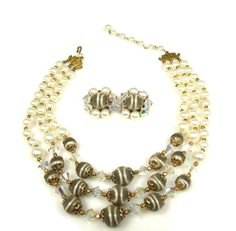 Vintage Three Strand Faux Pearl Crystal Gray Bead by TheFashionDen