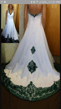 wedding dress with emerald green accents | Bridal white takes a ...