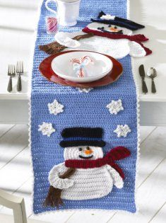 Read our blog: Getting Ready for Christmas in July with Maggie's Designs http://www.maggiescrochet.com/crochet/2013/07/24/getting-ready-for-christmas-in-july-with-maggies-designs/ Get the pattern here! http://www.maggiescrochet.com/frosty-fellows-table-runner-crochet-pattern-p-1330.html