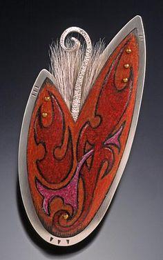 Deb Karash, Pin/Pendant, Sterling, copper, brass, animal hiar, Prismacolor, patina.