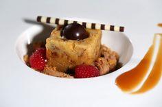 Pricci December Regional Menu--> Budino al Panettone: Chef Christian's Panettone Bread Pudding Served Room Temperature, Caramelito Chocolate Mousse