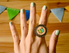 You're Welcome: Hand Painted Bird Ring