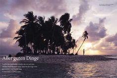 """Jeder von uns hat diese Frage schon mal in irgendeinem Poesiealbum beantwortet: Welche drei Dinge würdest du auf eine einsame Insel mitnehmen? Der NEON-Autor Philipp Schwenke hat sich entschieden und Ernst gemacht: Eine Woche lang verbrachte er allein auf einer fußballfeldgroßen karibischen Insel, zusammen mit einer Hängematte, einem Multifunktionswerkzeug und einem Buch. Hätte er sich nur vorher mal erkundigt, was """"Ontologie"""" bedeutet."""""""