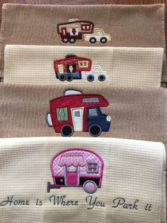 Judy Kelley made these beautiful hand towels using our Go Camping Appliqlue design set. This set is available for download at designsbyjuju.com