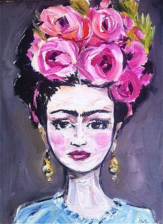 Frida Kahlo Portrait Painting roses oil texture by DevinePaintings Folk Art Flowers, Flower Art, Frida Paintings, Printable Poster, Frida Kahlo Portraits, Frida Art, Acrylic Artwork, Mexican Art, Diego Rivera