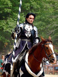 Jousting by dank1012, via Flickr (knight, armor, horse, medieval, black hair)