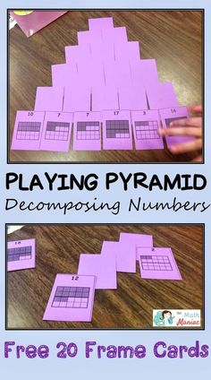 Card games make the best interventions!  Read more about how you can use a twist on the classic game of pyramid 13 to help kids work on decomposing numbers and finding combinations of 10 and 20.  Grab a free set of 20 frame playing cards as well.