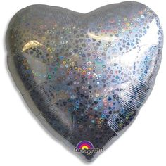 Silver Holographic Valentines Day Dazzle Heart Foil Balloon |... ❤ liked on Polyvore featuring filler, balloons and decor