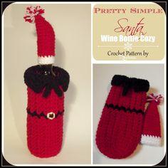 """Free crochet pattern for aPretty Simple Santa Wine Bottle Cozy. The cozy is designed to fit a 3"""" diameter wine bottle."""