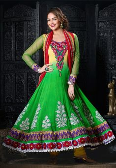 Stunning !Green #Georgette & #Net Sleeves kameez designed with Yock Zari, resham embroidery with patch butta and patch Border Work. Available with Yellow #Santoon Bottom with matching #Chiffon Dupatta  With exciting Flat 30% discount! INR :-4249
