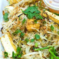 Tofu Rice Noodle A great stir fry noodle dish using rice noodles, tofu and bean sprouts.  Simple, but full of flavor.  Make without eggs or patis to make this truly vegetarian..