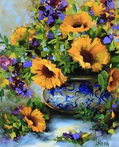 Artists Of Texas Contemporary Paintings and Art - Blue Leaf Yellow Sunflowers and a North Texas Workshop by Nancy Medina