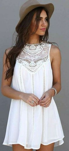 White Crochet Details Little Dress and Hat #summer #style