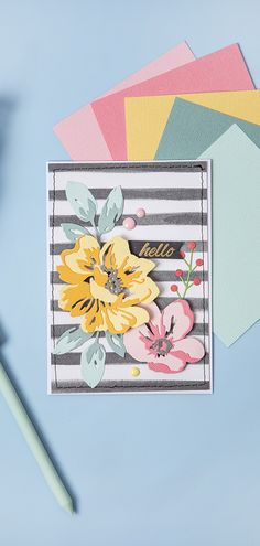 Don't you just love this floral card? Altenew Cards, Stampin Up Cards, Paper Craft Supplies, Paper Crafts, Card Making Kits, Card Making Techniques, Card Making Inspiration, Sympathy Cards, Flower Cards