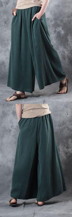 casual silk pants plus size elastic waist wide leg pants