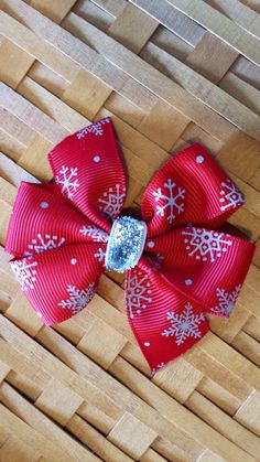 Red snowflake Christmas winter Hair bow by PrettyThingsBows, $3.75