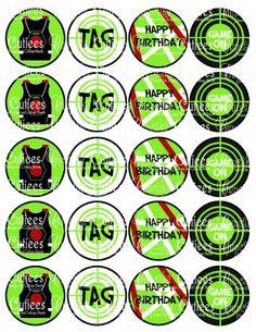 Laser tag bottlecap images for party favor